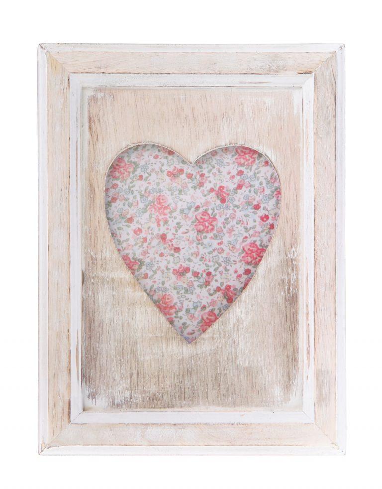 Single Heart Portrait Photo Frame White Wood Effect   Free Range ...